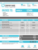 Customizable Invoice template design. Blank Invoice template design in blue and gray Stock Photo
