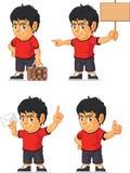 Customizable maskot 17 för fotbollpojke Arkivbild