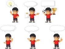 Customizable maskot 21 för fotbollpojke Royaltyfri Bild