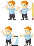 Customizable maskot 10 för röd manlig elevrepresentant Arkivfoto