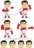 Customizable maskot 5 för Superhero Arkivfoto