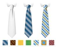Customizable neckties vector templates with seamless textures set Stock Photos