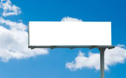 Customizable white roadsign. Freeway sign or billboard with white space for custom text royalty free stock image