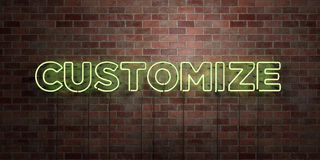 CUSTOMIZE - fluorescent Neon tube Sign on brickwork - Front view - 3D rendered royalty free stock picture Royalty Free Stock Photography