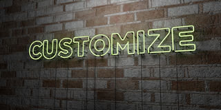 CUSTOMIZE - Glowing Neon Sign on stonework wall - 3D rendered royalty free stock illustration Royalty Free Stock Photos