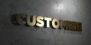 Customize - Gold text on black background - 3D rendered royalty free stock picture Royalty Free Stock Image