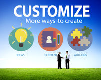 Customize Ideas Identity Individuality Innovation Personalize Co. Ncept Stock Photos