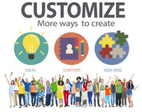 Customize Ideas Identity Individuality Innovation Personalize Co Royalty Free Stock Images