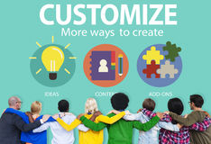 Customize Ideas Identity Individuality Innovation Personalize Stock Image