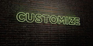CUSTOMIZE -Realistic Neon Sign on Brick Wall background - 3D rendered royalty free stock image Royalty Free Stock Image