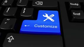 Customize Round Motion On Computer Keyboard Button with Text and icon. royalty free illustration