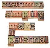Customize and simplify concept Stock Photos