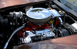Customized car engine. Details of a customized automobile engine Royalty Free Stock Photography