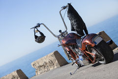 Customized chopper motorcycle Stock Images