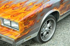 Customized flames on car stock photo