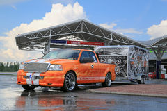 Customized Ford F150 Pick Up Truck and Trailer Stock Images