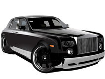 Customized luxury black Rolls Royce phantom car. Vectorized illustration of customized black Rolls Royce phantom modified British car stock illustration