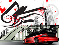 Customized mitsubishi evolution grunge city Royalty Free Stock Image