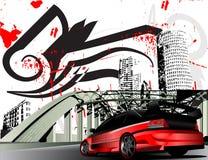 Customized mitsubishi evolution grunge city. Vectorized illustration of customized evolution mitsubishi Japanese car in grunge city Royalty Free Stock Image