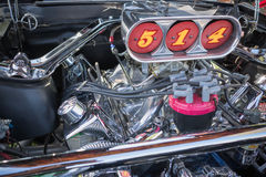 Customized muscle car engine displayed. Pomona, USA - March 12, 2016: Customized muscle car engine displayed during 3rd Annual Street Machine and Muscle Car Royalty Free Stock Images