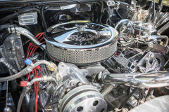 Customized muscle car engine displayed. Pomona, USA - March 12, 2016: Customized muscle car engine displayed during 3rd Annual Street Machine and Muscle Car Stock Image