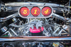 Customized muscle car engine displayed. Pomona, USA - March 12, 2016: Customized muscle car engine displayed during 3rd Annual Street Machine and Muscle Car Stock Images