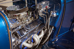 Customized muscle car engine displayed Royalty Free Stock Photography