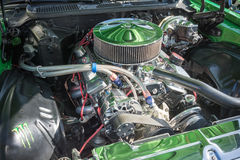 Customized muscle car engine displayed Stock Image