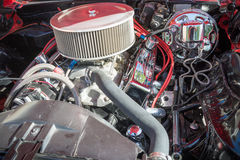 Customized muscle car engine displayed Royalty Free Stock Images