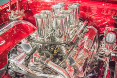 Customized muscle car engine displayed Stock Photos
