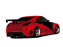 Customized red nismo nissan 350z turbo drifting. Vectorized illustration of customized red nissan 350z modified nismo concept japanese drifter D formula Stock Image