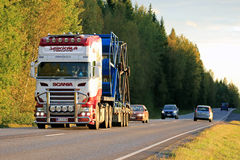 Customized Scania Semi Transport in the Evening Royalty Free Stock Photography