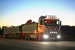 Customized Scania Truck on Truck Stop at Dusktime Royalty Free Stock Photography