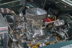 Customized V8 engine compartment. Of a high performance car Royalty Free Stock Images