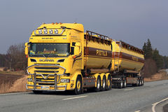 Customized Yellow Scania Tank Truck Stock Photo