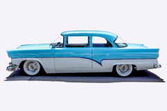 1956 Customline Ford. Blue and white 1956 Customline Ford on a white background Stock Photo