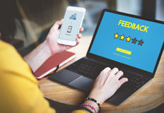 Customre-Feedback-Kommentar-Abstimmungs-Bericht-Ergebnis-Konzept lizenzfreie stockfotografie