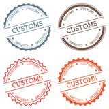 Customs badge isolated on white background. Flat style round label with text. Circular emblem vector illustration Royalty Free Stock Images