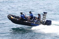 Customs boats. High speed boat of the spanish customs sailing Stock Photo