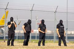 Customs and border protection officers. Four customs and border protection officers and Drug enforcement administration special forces participate in a training stock photos