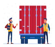 Customs and border truck inspection. Customs truck loading control. Customs inspector checks the truck loading and accompanying documents. Concept of border stock illustration