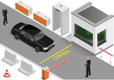Customs clearance area with security. Customs clearance zone with security. Metal detector and barrier in the entrance area. Security guard and car inspection Royalty Free Stock Images