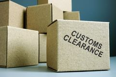 Free Customs Clearance Stamp On A Side Of Box Royalty Free Stock Photos - 151304448