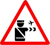 Customs control in airport caution triangular red road sign Stock Photo