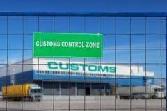 Customs control area with lorries near warehouse logistics center. stock photos