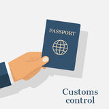 Customs control concept. Businessman giving passport for checking. Hand holding international document isolated on white background Stock Photo