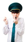 Customs control woman blow whistle Royalty Free Stock Images