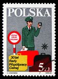 Customs Cooperation Council, 30th Anniversary, serie, circa 1983. MOSCOW, RUSSIA - SEPTEMBER 15, 2018: A stamp printed in Poland shows Customs Cooperation royalty free stock photo