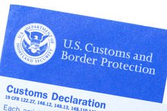 Customs declaration form Stock Photography