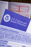 Customs declaration and passport Stock Photography